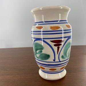 Jamestown Vase Off White Blue Brown Signed